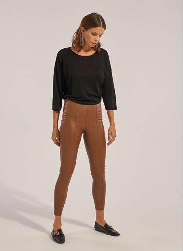 Monamoda Beli Lastikli Yüksek Bel Vegan Deri Pantolon Taba